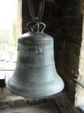 Campana a dalt de la torre del campanar de la Església romànica de Sant Climent de Taüll, a Taüll