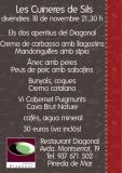 sopar degustació de les cuineres de sils  el proper 18 de novembre